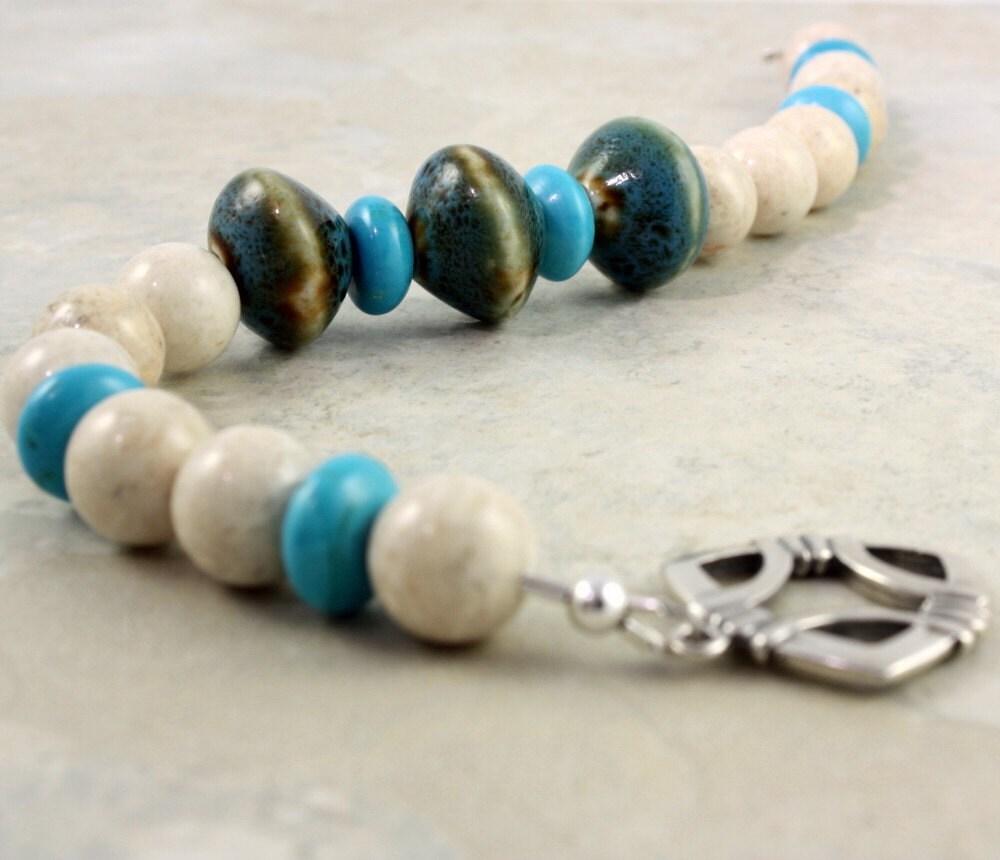 Porcelain Bead  Chalk Turquoise Bracelet by abacusbeadcreations