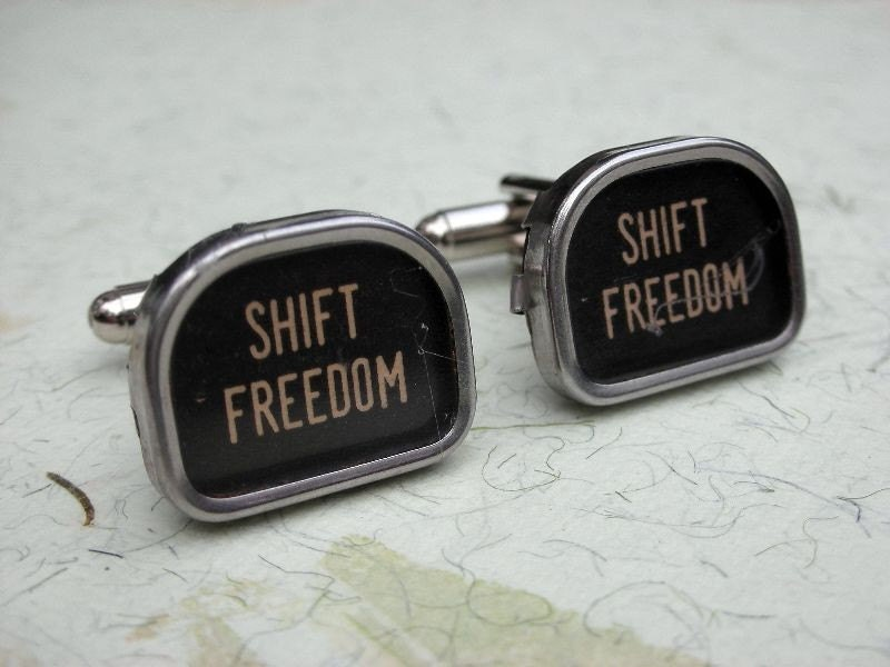 Vintage Typewriter Keys Cufflinks Cuff links SHIFT FREEDOM