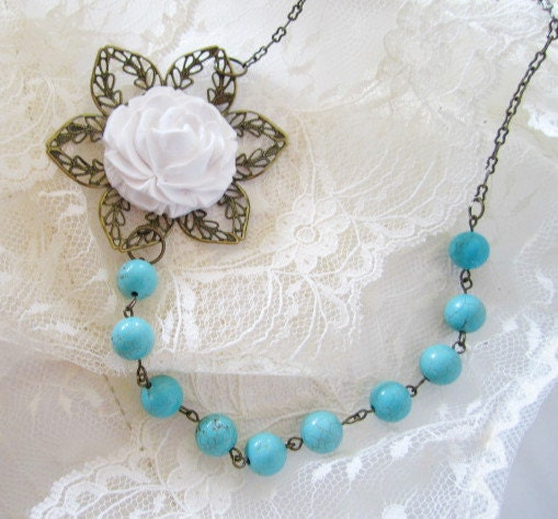 Chic Vintage White Flower Turquoise Pearl by SnobishDesign on Etsy
