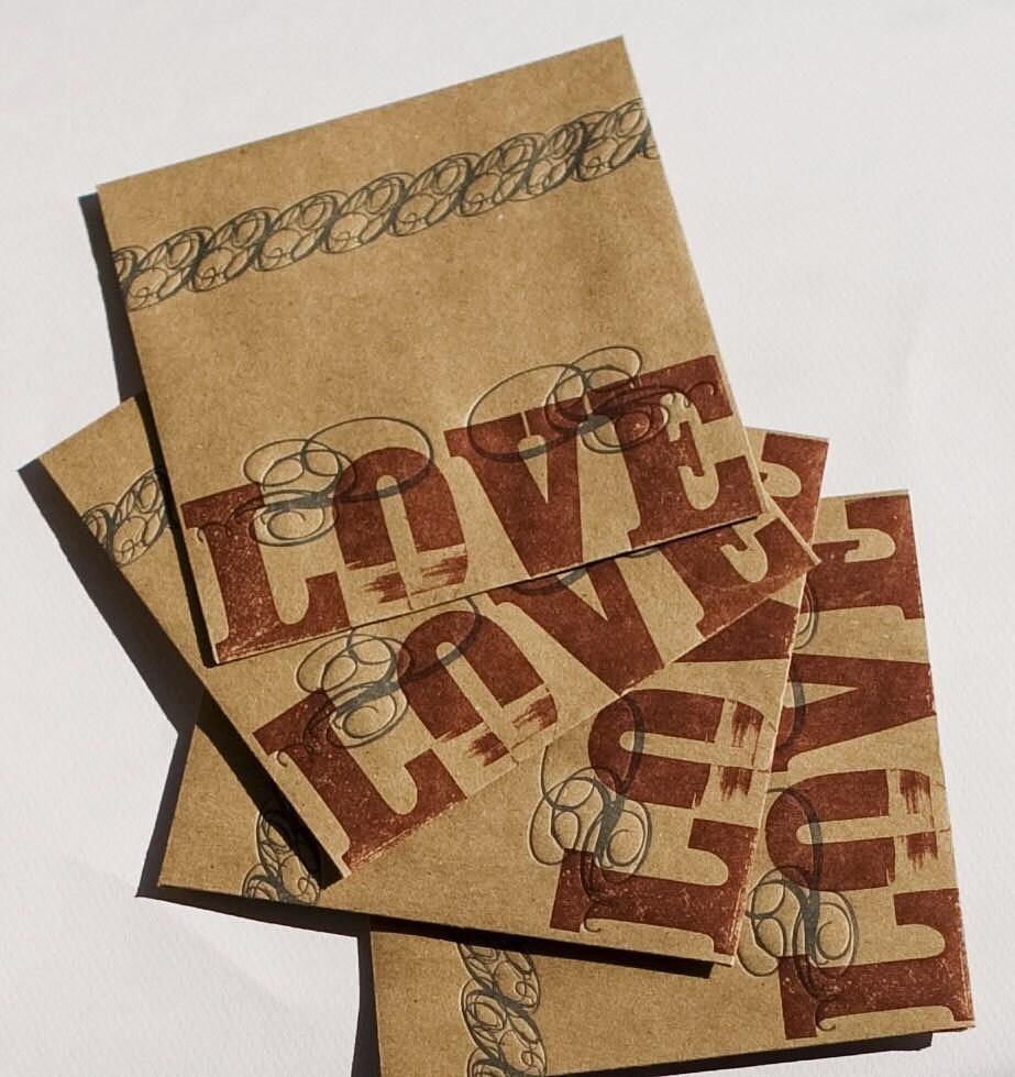 LOVE (wedding pack of 100 letterpress printed CD sleeves)