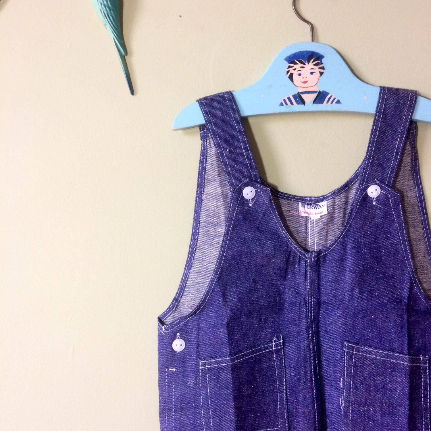 Baby dungarees  baby overalls blue denim. Boys dungarees or girls dungarees. Unworn new vintage 1970s. Age 2 years  age 3 years