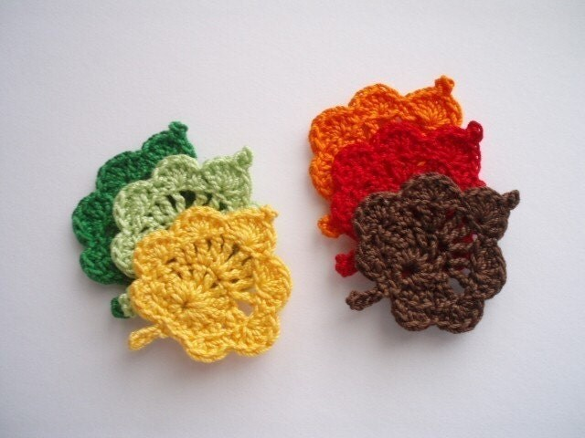 Crochet Applique Embellishment Set of 6 Autumn  Leaves in Fall Colors