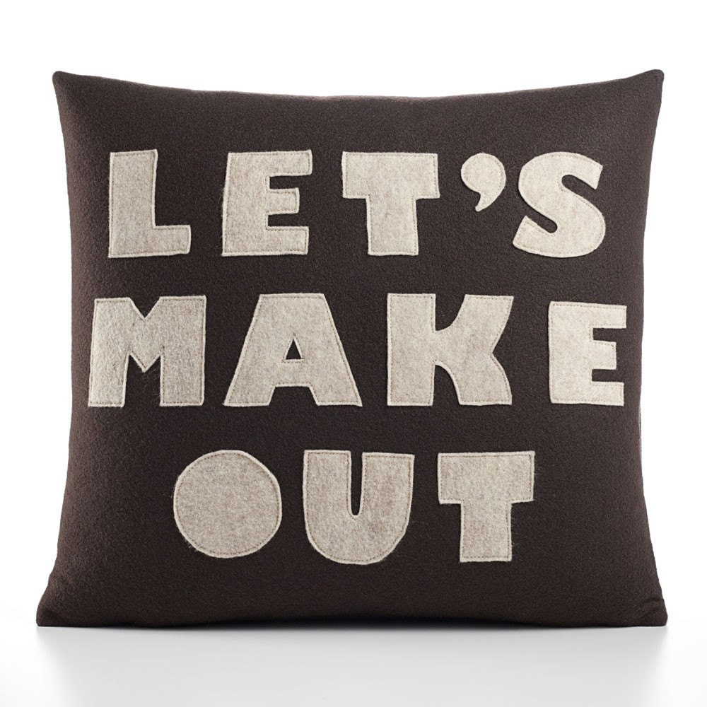 LET'S MAKE OUT - cocoa and oatmeal- 16 inch recycled felt applique pillow