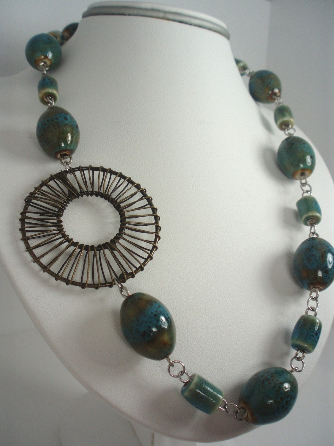 "Long Necklace 27"" in Green Porcelain Beads and Bronzed Focal Round Metal Bead"
