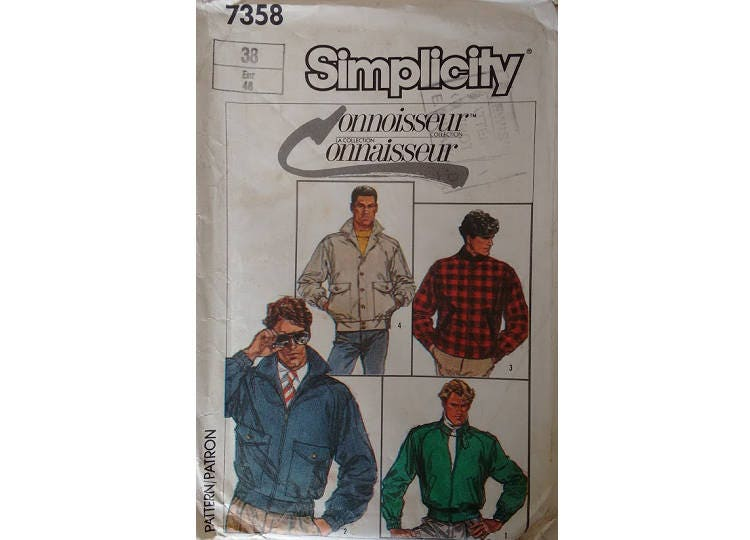 Vintage 80s Simplicity 7358 Connoisseur Collection Mens Lined Casual Jackets 4 Options Size Chest 38