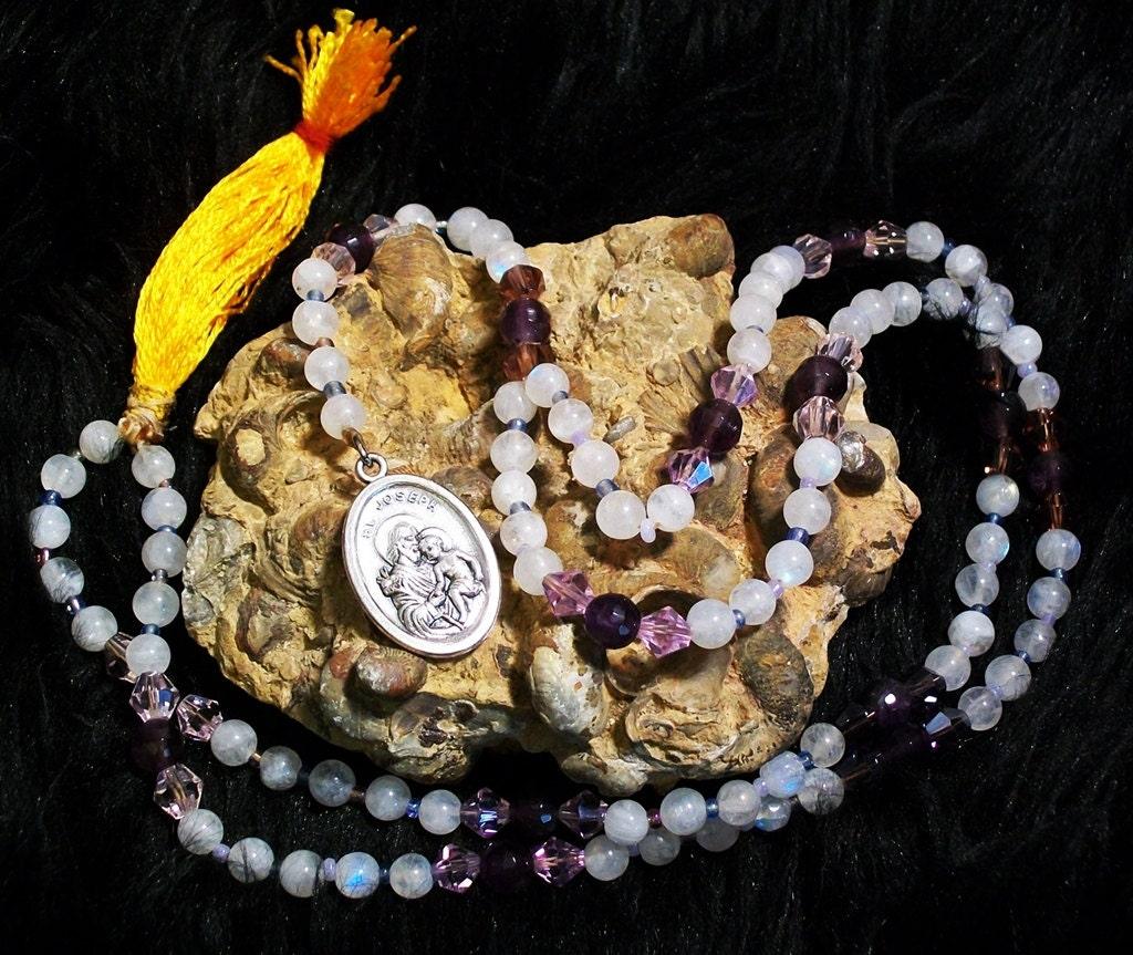 Saint Joseph Rosary Rainbow Moonstone, and Amethyst Prayer Bead Necklace