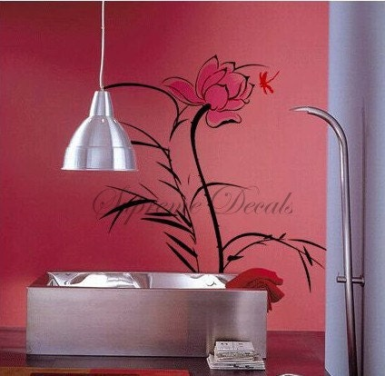 Lotus And Dragonfly Home Decor Wall Art Vinyl By Popdecals