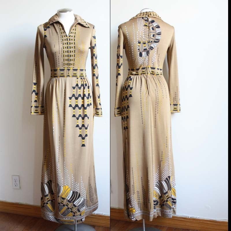 Vintage 70s Paganne Mod Egyptian Tribal Maxi Dress M