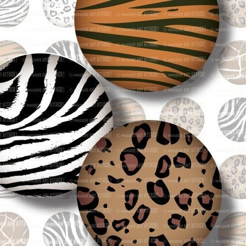 Digital Collage Sheet 106 . Animal Print . 1 inch circles - massiveartattack