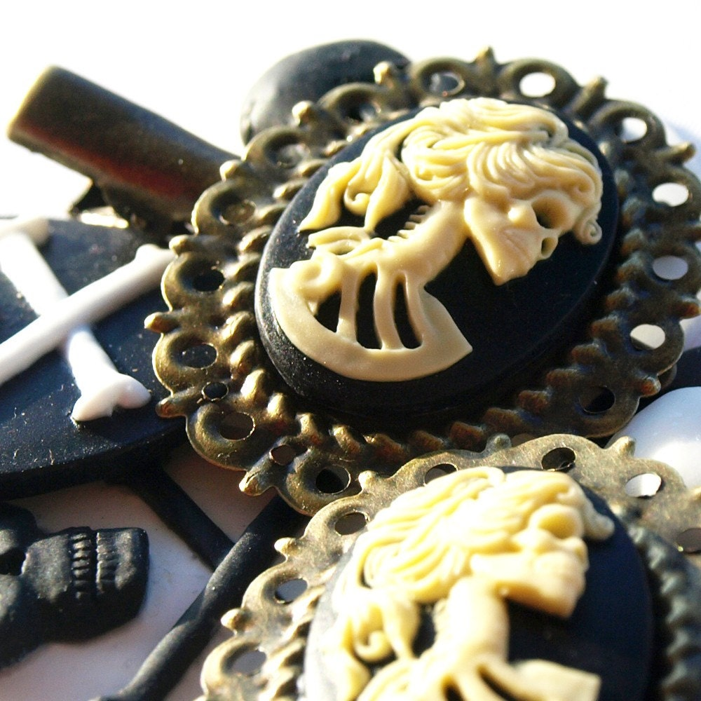 Skeletina Antique Brass Gothic Cameo Hair Clips by glamasaurus from etsy.com