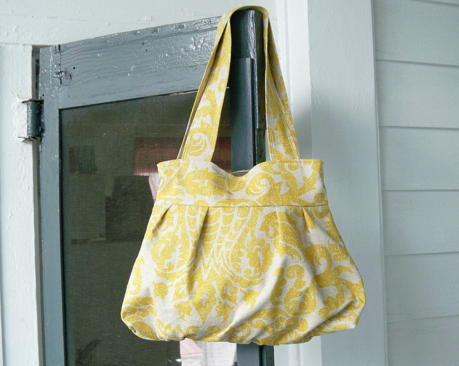 Yellow Damask Gathered Shoulder Bag - - NEW