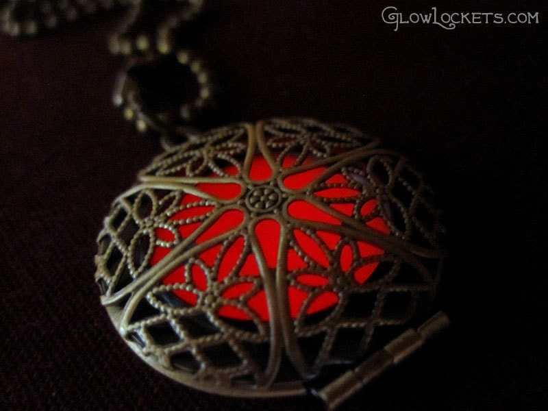 red glow in the dark locket