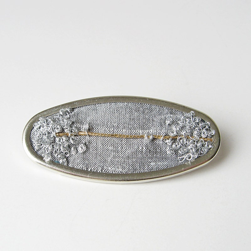 Gold and silver brooch hand embroidered - bstudio
