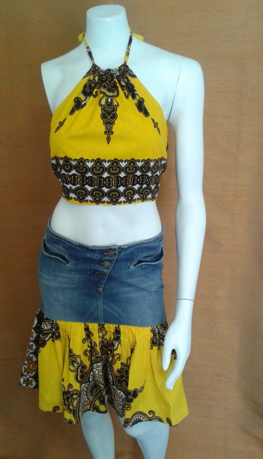 REDUCED FOR CLEARANCE  Yellow and Green African Wax Print and Denim Mini and Halter Top Dress