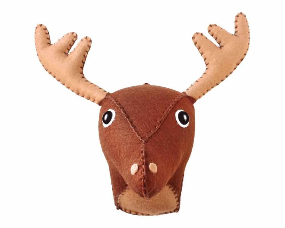 Medium deer moose pattern faux taxidermy felt by aicreatures - Fake stuffed moose head ...
