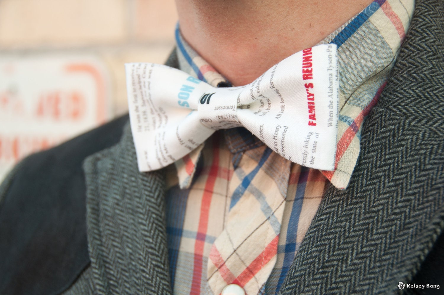 mens bow tie - print on white with hidden pops of color