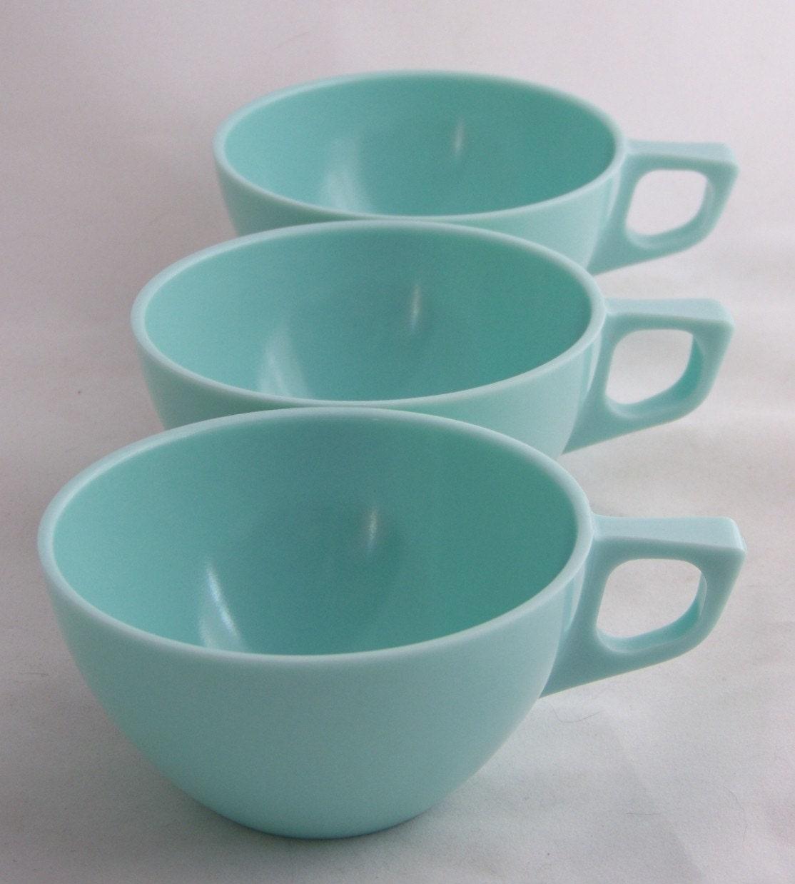 Set of Three Vintage Modern Aqua Blue Melmac Tea or Coffee Cups