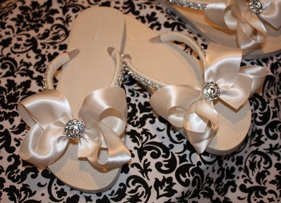 Oh So Pretty Bridal Flip Flops -- In White or Ivory