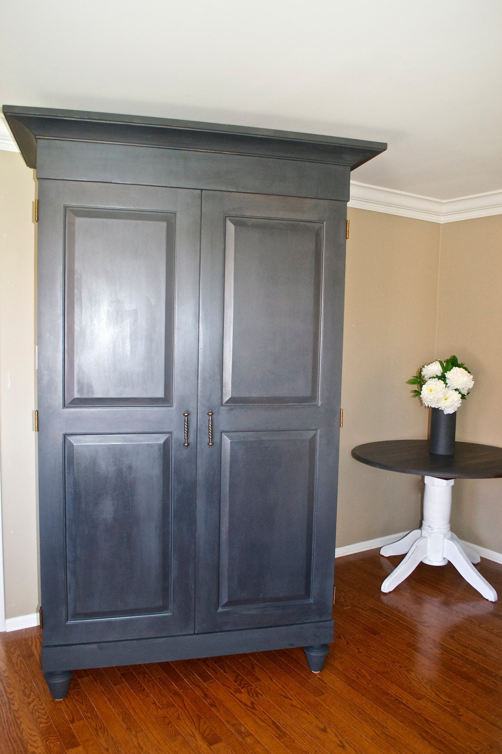 farmhouse shabby chic vintage armoire or by theyardleycottage. Black Bedroom Furniture Sets. Home Design Ideas