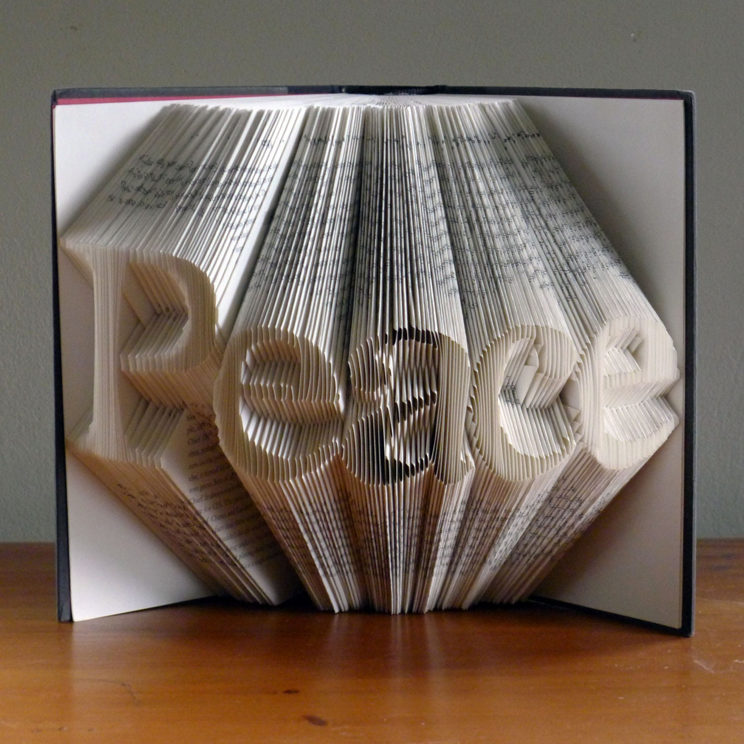 Christmas Decoration - Peace - Folded Book Art - Peace - Book Sculpture - Unique Gift