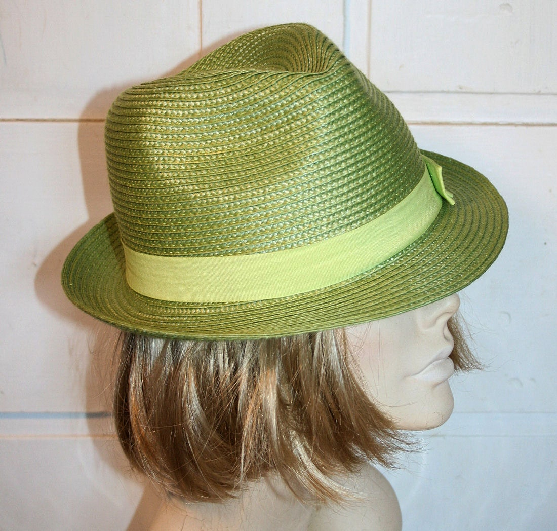 Vintage Lady's Fedora Spring Green Raffia Hat - MorningGlorious