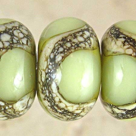 Pistachio - Webbed Green Glass Lampwork Bead Set 11x7mm (6)