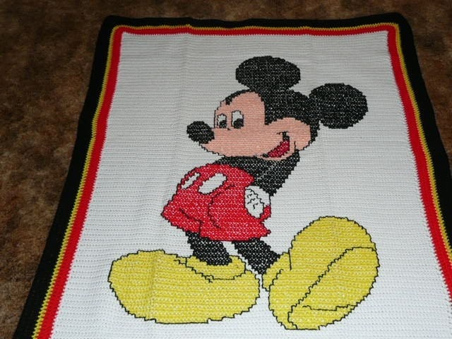 Mickey Mouse Crochet Afghan Pattern Free : DISNEYS MICKEY MOUSE HAND CROCHETED AFGHAN by maltesedreamer