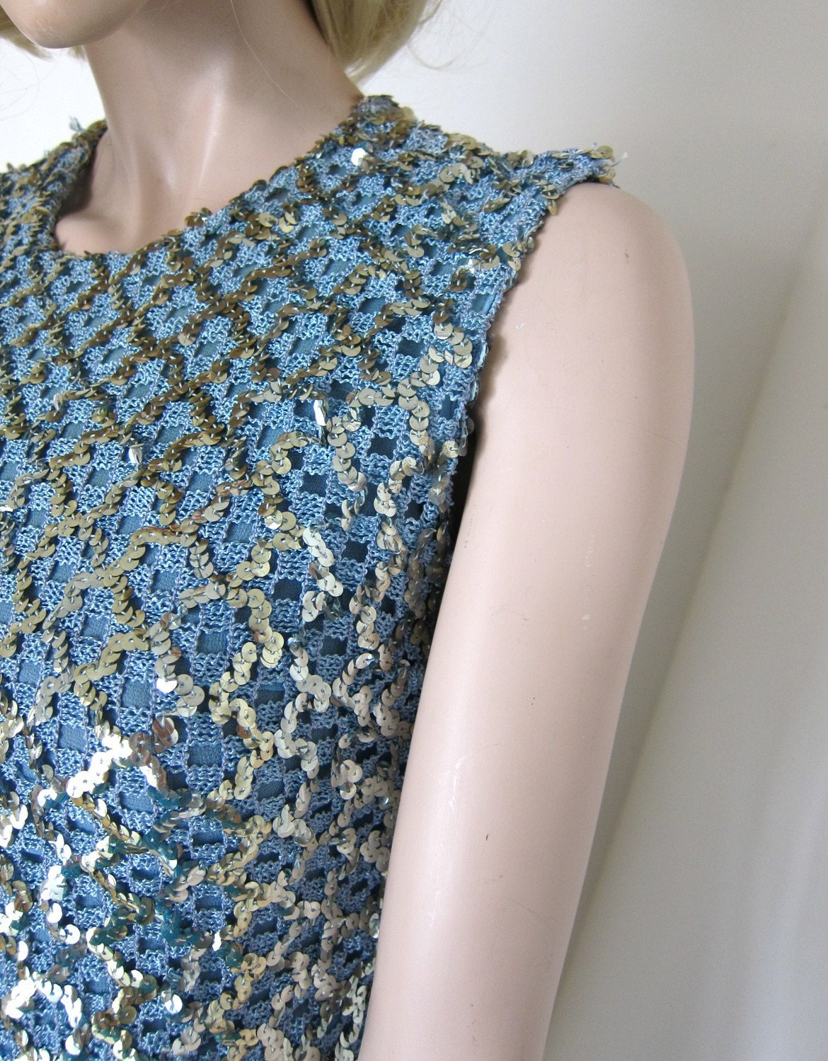 60s Blue Silver Sequins Sparkle Top Fashioned By Gregory Size XS (estimated)