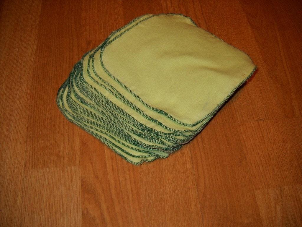 2 Dozen Flannel Baby Wipes - Spring Green