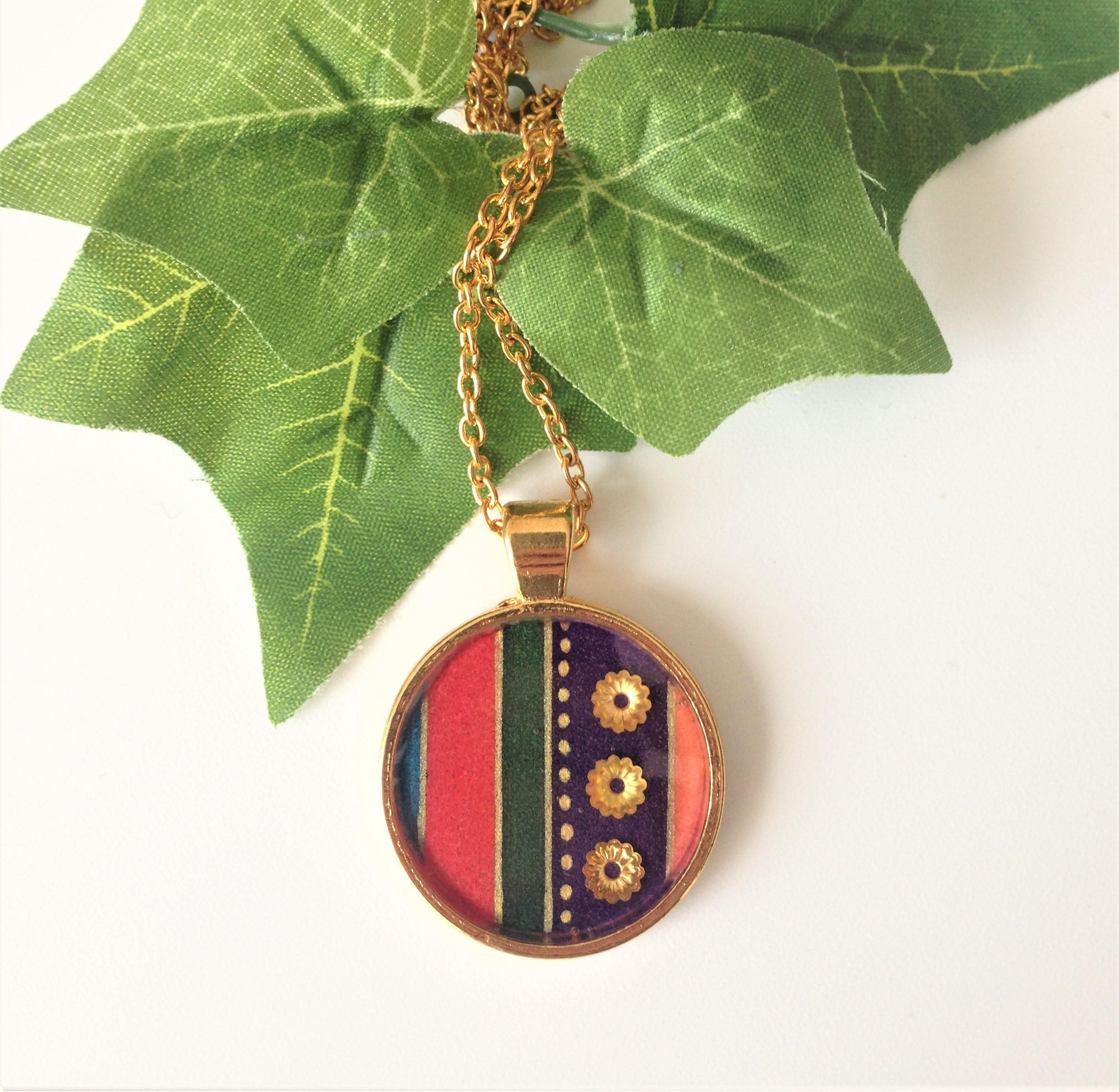 Handmade Graphic Design Pendant Necklace  Handmade Stripes Resin Necklace  Resin Pendant Necklace  Jewellery Gifts  Handmade Jewellery