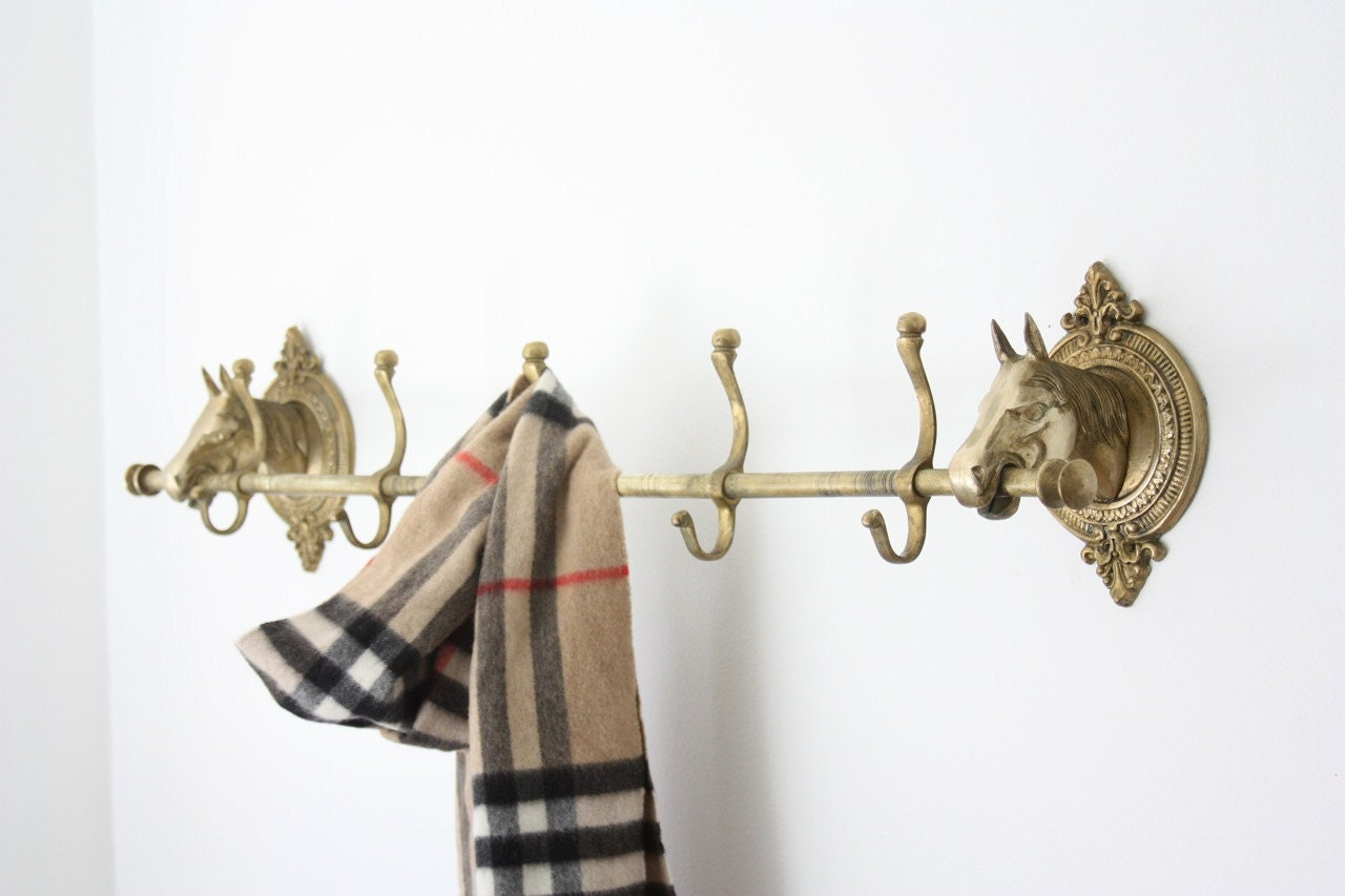Vintage Brass Horse Head Coat Rack by estateeclectic on Etsy