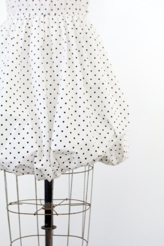 Vintage Black and White Polka Dot Dress / 1980s Contempo Casuals Dress