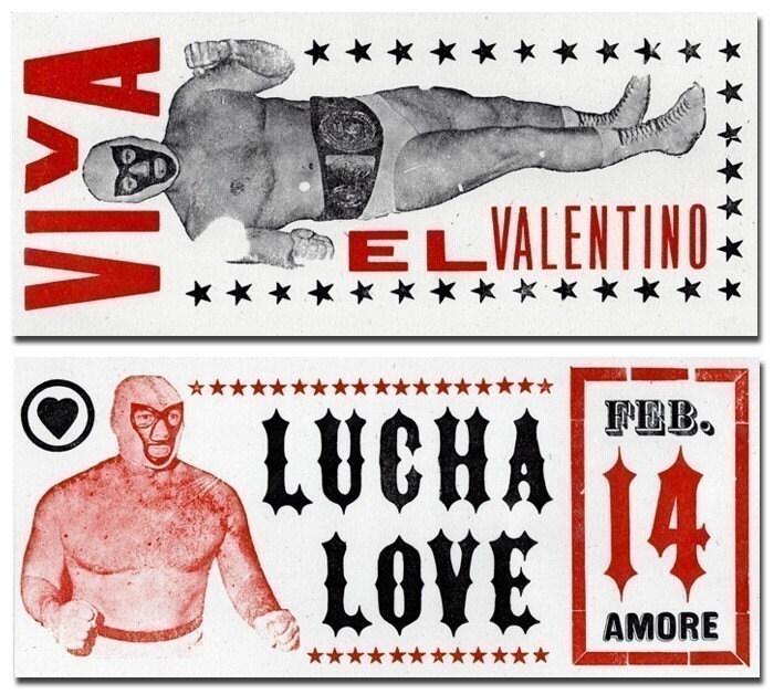 LUCHE LOVE VIVA EL VALENTINO WRESTLER LETTERPRESS VALENTINES
