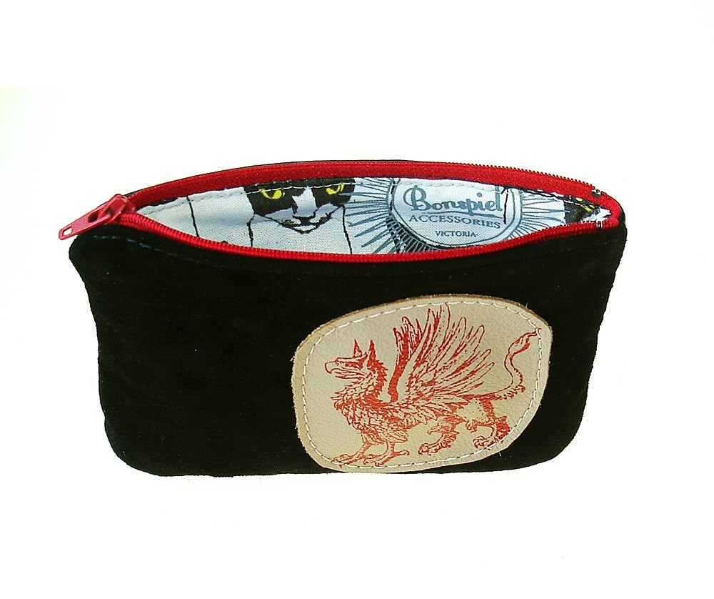 Black  Griffin Changepurse made of  Recycled Leather