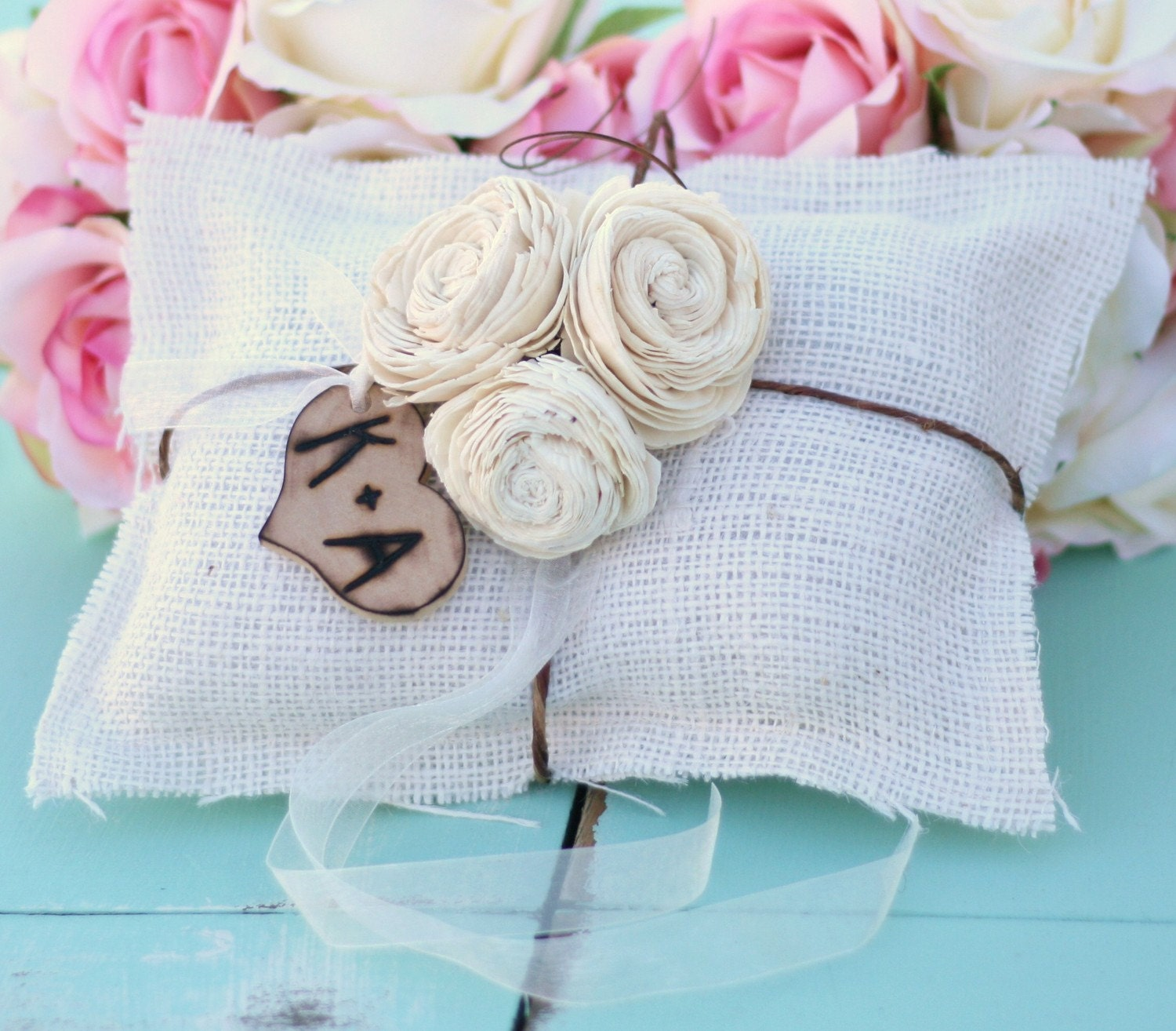 Vintage Antique Style Paper Roses Rustic Spring Summer Woodland Wedding Shabby Chic Burlap Ring Bearer Pillow With Personalized Engraved Monogrammed Wood Heart Charm