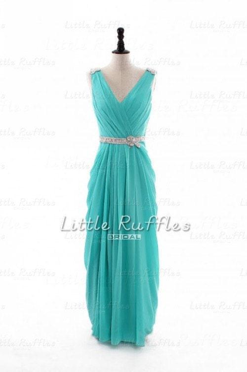 Aqua Chiffon Dress,Tiffany Blue Prom Dress,Turquoise ...