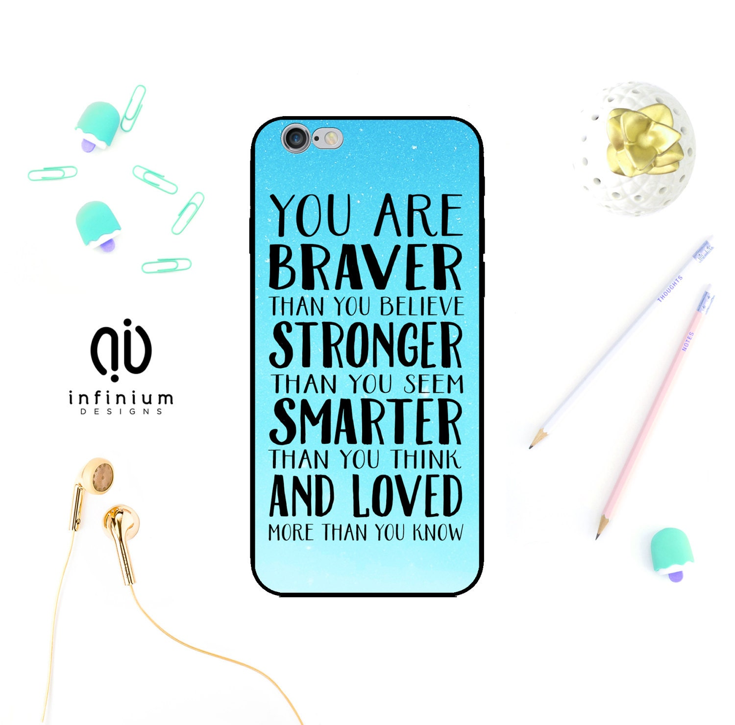 You Are Braver Case For iPhone 7 Samsung S8 S8 Edge S7 A5 Galaxy A3 J3 J5 Core Prime 7 Plus iPhone 6S SE 5S  iPod Touch 6