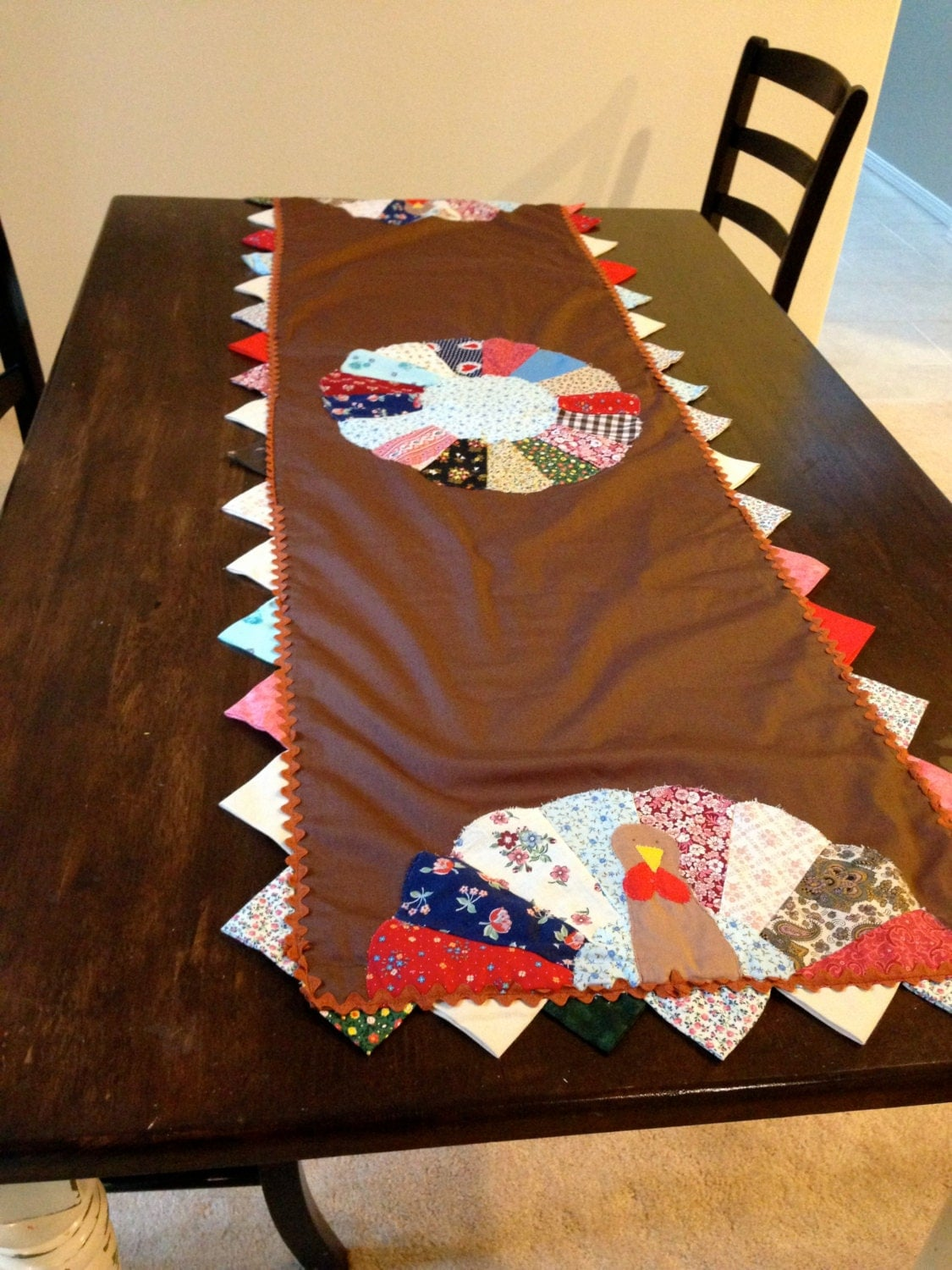 Thanksgiving Quilted Table Runner Patterns : Turkey Quilted table runner for thanksgiving by happykristen
