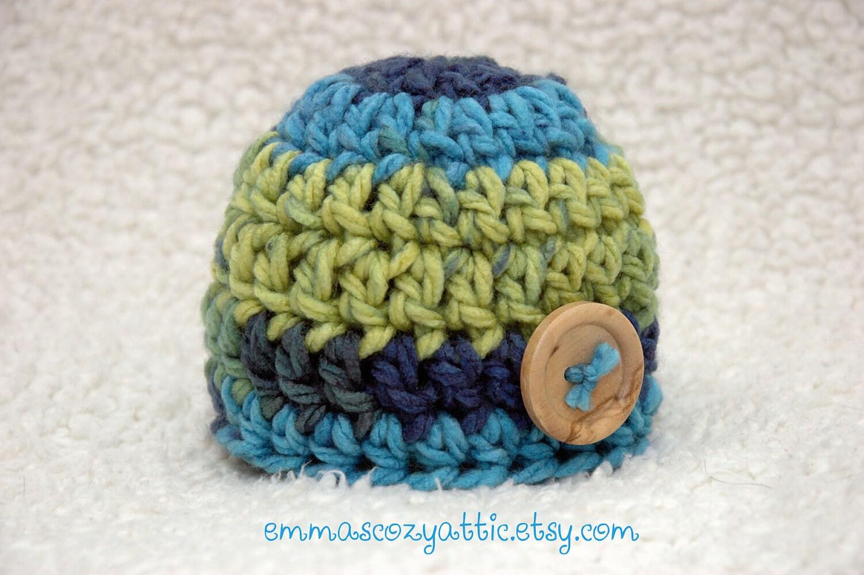 Newborn baby boy hat button beanie aqua blue green newborn size photography photo prop - READY TO SHIP