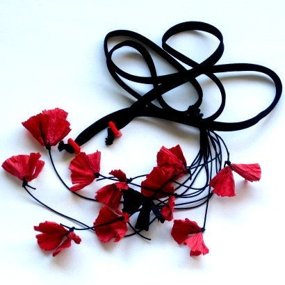 paper necklace, paper jewelry,  red flower necklace