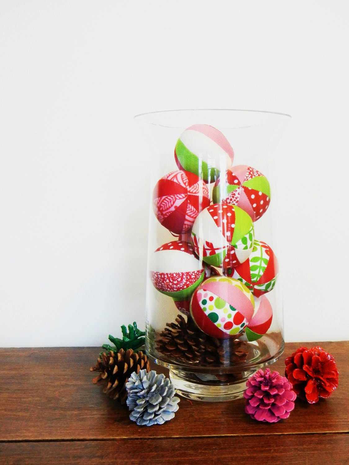 Set of 8 - Whimsical fabric Christmas balls - Home decor, table centerpiece, mantle - red, white, green, pink - Walkervilletextiles