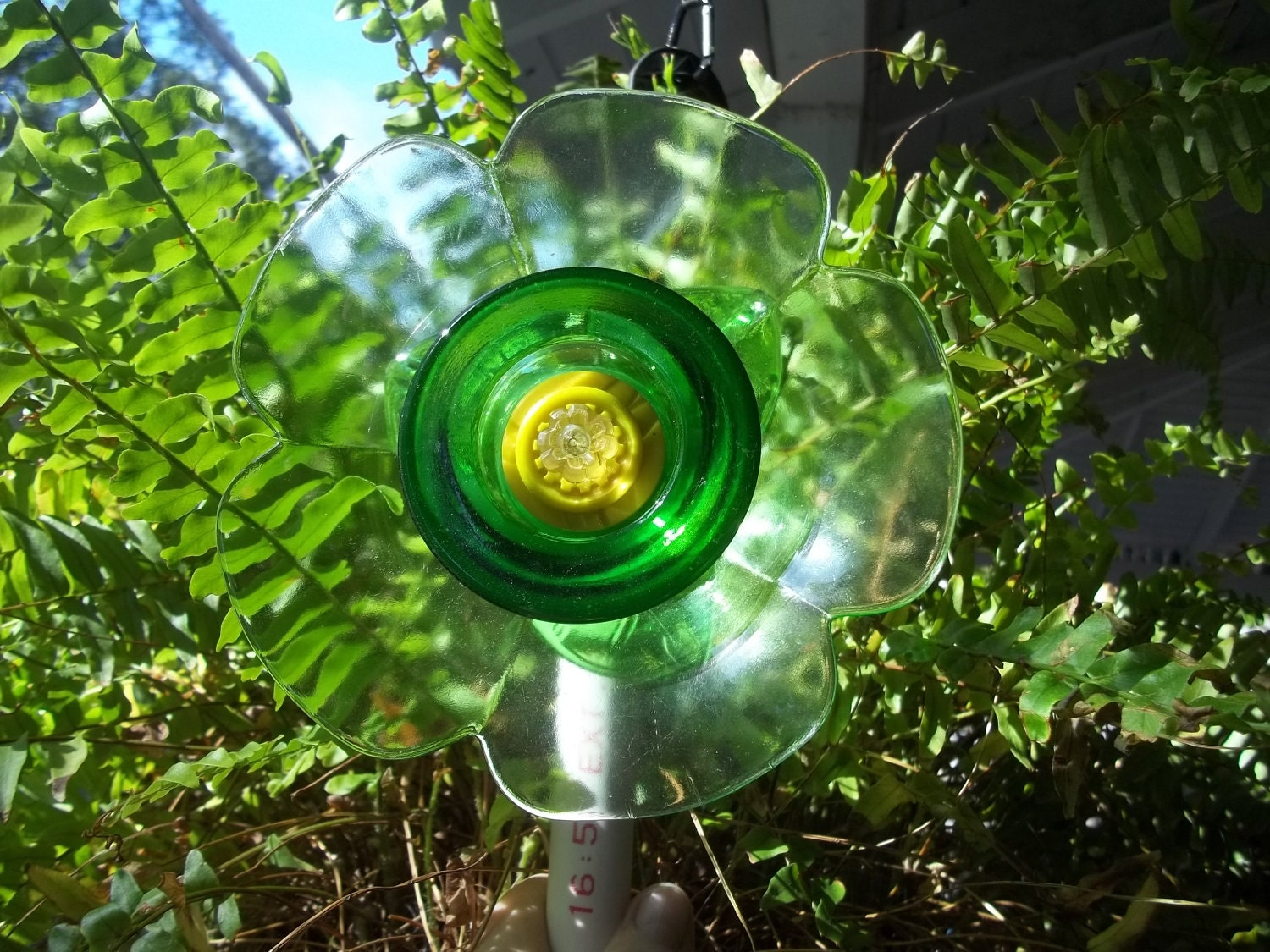 Recycled garden yard art glass flower touch by for Recycled glass art
