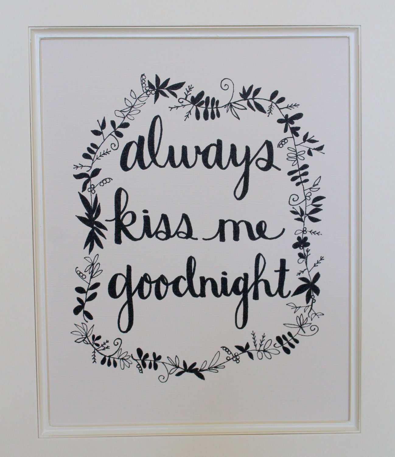 Always Kiss Me Goodnight - 8x10 Illustrated Wall Print by Mandipidy
