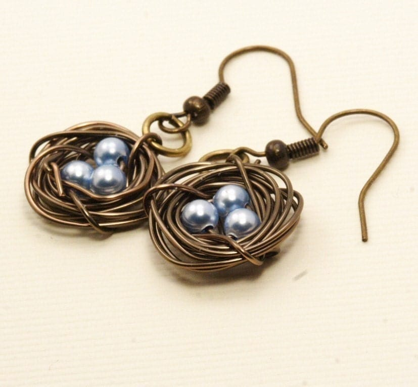 Birds Nest Earrings in Antique Brass