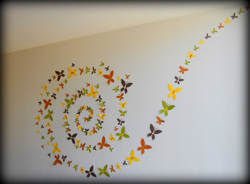 Wall Decoration Ideas Handmade : Set of d handmade butterfly wall artwall by mydreamdecors