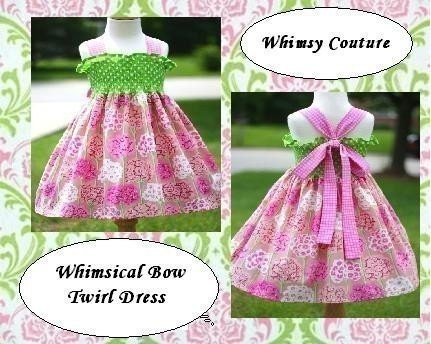 On Sale Today Reg 8.00 WHIMSY COUTURE sewing pattern tutorial for WHIMSICAL BOW TWIRL DRESS