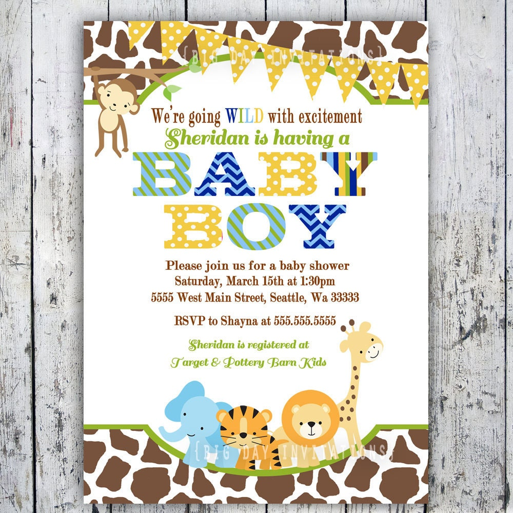 Luscious image with free printable safari baby shower invitations