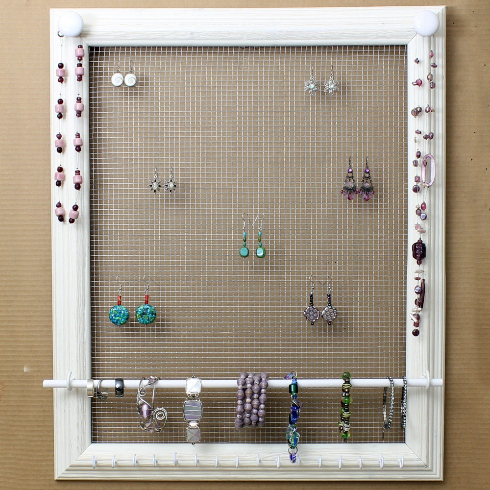 Custom Jewelry Display Frame: Jewelry Organizer Display White Picture By HedcraftFineArt