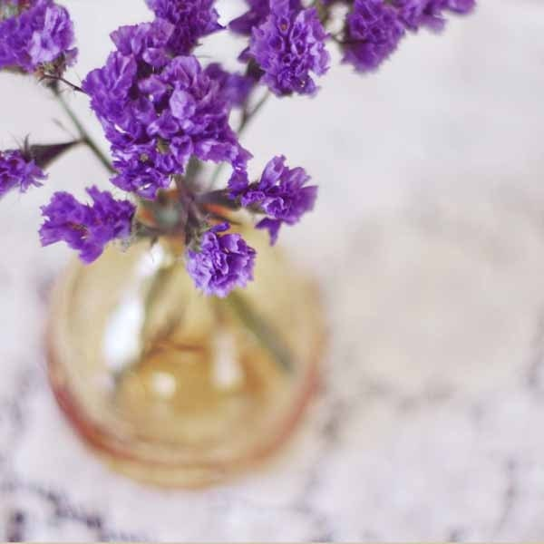 dreamy purple flowers in gold vase