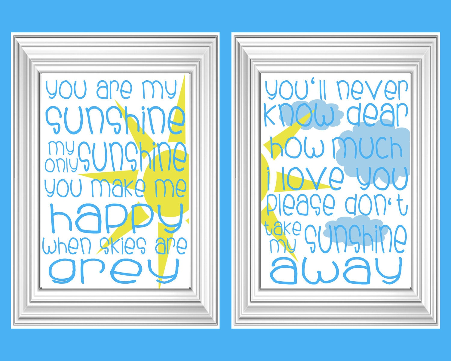 You are My Sunshine Print Set / Wall Art- set of 2- 8 x 10